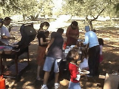 Barbecue for Gaza evacuees