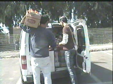 Delivering packages to Gaza evacuees