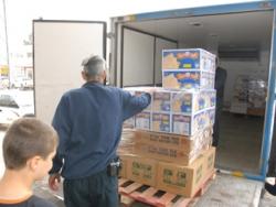 Unloading supplies