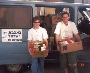 Delivering food packages to needy families