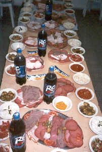Feast table for soldiers