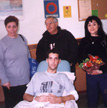 Visiting wounded soldier & family