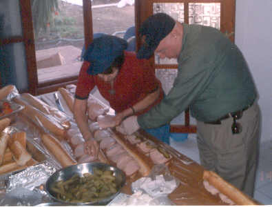 Preparing sandwiches for soldiers